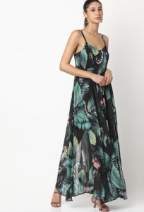 at home date night outfit, tropical print, maxi dress, earrings, black, floral