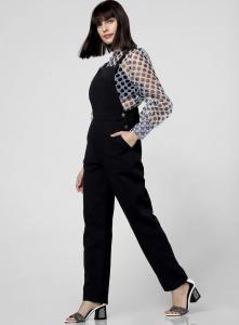 black jumpsuit, sheer shirt, polka dots, open hair