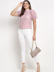 peach lace top, studs, hoop studs, earrings, white denim, open hair, white handbag