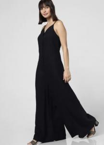 black linen jumpsuit, sleeveless, strappy dress, open hair