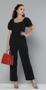 black one piece, red handbag, stilettos,