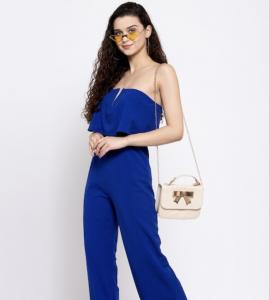 blue jumpsuit, hangbag, sling bag, sunglasses, open hair
