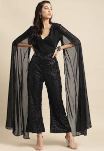 black one piece, partywear, cape sleeves, open hair, high heels
