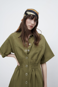 tshirt dress, olive dress, silk scarf, zara